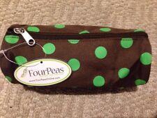 "Four Peas Pencil Bag, Cosmetic Bag, Travel NEW Brown Green Polka Dot 8"" X 3"" $9"