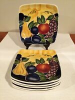 """6 Tabletops Unlimited Hand Painted """"DI FRUTTO"""" 8 3/4"""" Square Salad Plates"""