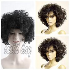 Synthetic Hair Wig Men Women's Short Curly Black Hair Halloween Party Wigs Black