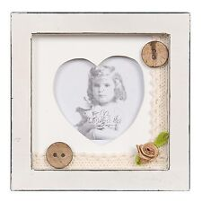NEW Clayre & Eef Picture Frame Shabby Chic Corset Lace Top Buttons Roses Heart