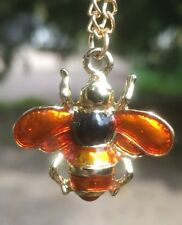 Lovely Enamel And Gold Plated Bee Pendant Necklace