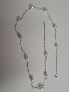 Mikimoto 18k 750 White Gold Pearls Necklace Chain Akoya