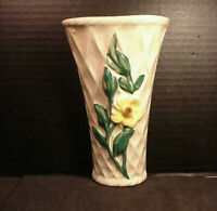"Morton Pottery Wall Pocket Vase Vintage Yellow Flower 7.25"""