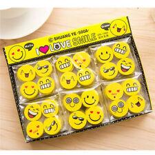 4Pcs Cute Funny Emoji Rubber Pencil Eraser Novelty Students kids Stationery Gift