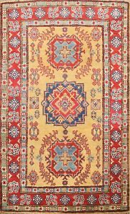 GOLD Vegetable Dye Super Kazak Oriental Area Rug Hand-knotted Wool 3'x4' Carpet