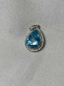 Large Blue Topaz Sterling Silver Pendant