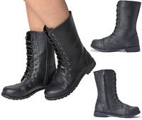Ladies Womens Girl Military Black Boots Army Combat Ankle Lace Up Flat Biker Zip