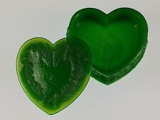 WINTER GREEN Covered HEART BOX Boyd's Crystal Art Glass Degenhart 1978-1983 NOS