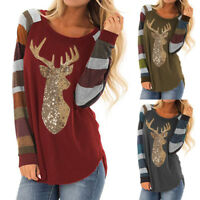 Womens Christmas Tops Stripe Sequin Reindeer Long Sleeve Cute T Shirt Blouse