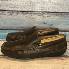 Ecco Brown Leather Casual Slip On Driving Loafers Shoes Men's EU 43 US 9-9.5