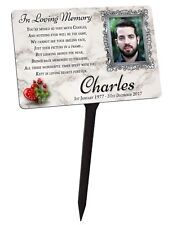 Your Photo Memorial Plaque & Stake Personalised. For Friend Family Garden Grave