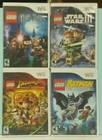 Nintendo Wii & Wii U LEGO Game Lot Indiana Jones, Batman, Harry Potter Star Wars