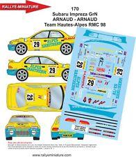 DECALS 1/24 REF 170 SUBARU IMPREZA WRX ARNAUD RALLYE MONTE CARLO 1998 RALLY WRC