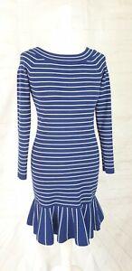 Karen Millen Blue Striped Stretch Dress Frill Hem Sailor Size S