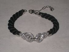 Authentic SWAROVSKI Clear Crystal Double Love Knot Coiled Silk Bracelet