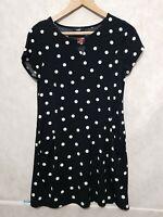 Wallis Black White Polka Dot Tunic Mini Dress Pockets Uk XS