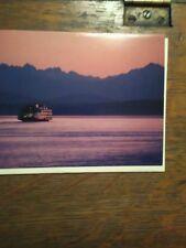 GREETING CARD WASHINGTON STATE FERRIES TWILIGHT CROSSING MV WALLA WALLA PUGET SO