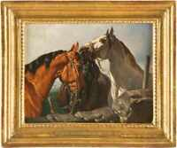 Anton Josef Strassgschwandtner (1826 - 1881) - Pferde -  Öl/Platte - Signiert