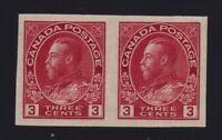 Canada Sc #138 (1924) 3c carmine Admiral Imperforate Pair Mint VF NH