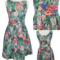 Red Herring Dress Size 10 Green Floral Fit and Flare Sleeveless Above Knee.