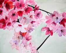 "Original Painting Watercolor on Canvas    Cherry Blossom   16x20"" Julia Lu"