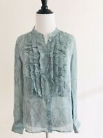 J Crew Womens Size 2 Blue Faded Paisley Floucette Silk Blouse Button Up Sleeves