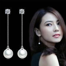 Womens 925 Sterling Silver Zircon Crystal Pearl Ear Chain Stud Dangle Earrings