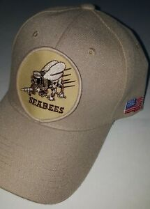 U.S. NAVY - SEABEES Military Ball Cap - BEIGE