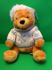 NWT Winnie The Pooh Bear Snowflake Stuff Plush Sweater Hood Winter Animal Toy