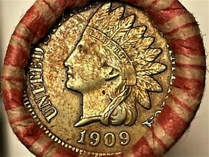Wheat/Indian Head penny roll with 1909VDB & FULL LIBERTY 1909 Indian head ends!