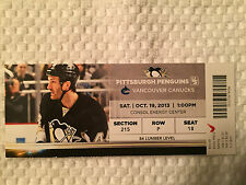 Pittsburgh Penguins/ Canucks Ticket Stub 10/19/15 Featuring Bruce Orpik