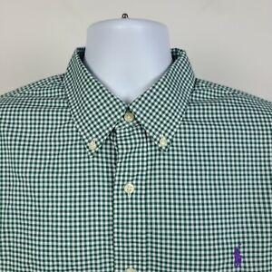 Ralph Lauren 100% Cotton Stretch Green Gingham Check Mens Dress Shirt Size XL