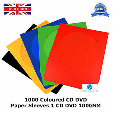 1000 Coloured CD DVD Paper Sleeves Holds 1 CD DVD 100GSM With Window and Flap HQ