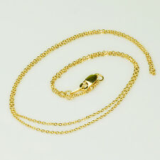 "18K SOLID YELLOW GOLD Petite Cable Chain Necklace 18"" Length"
