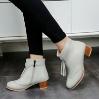 Retro Womens Round Toe Boots Med Heels Casual Booties Party Zipper Solid Shoes