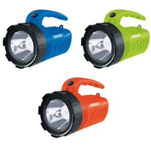 Draper choice of colours 3W LED Rechargeable Spotlight Torch camping garage home
