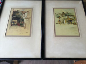Vintage framed coloured prints x 2 Barnett scenes by F. Robson signed and titled