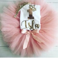 Girls Personalised 1st First Birthday Outfit Tutu Skirt Cake Smash Blush Gold