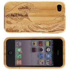 Genuine Bamboo Tidal Wave Natural Wood Case Cover For Apple iPhone 4 4S 4G