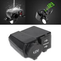 12V Waterproof Motorcycle Dual USB Charger Cigarette Lighter Socket Motorbike