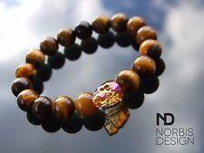 Men Tigers Eye Skull Bracelet with Swarovski Crystal 7-8inch Elasticated Chakra