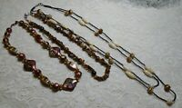 VINTAGE TO NOW PEARLY BROWN LUCITE TIGER'S EYE & GLASS BEADED NECKLACE LOT