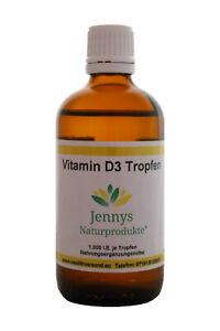 Vitamin D3 Tropfen - 100 ml - 1.000 IE pro Tropfen - für Vegetarier und Veganer