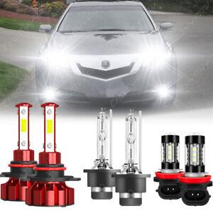 For Acura TL 2009-2014 6PCS Front LED HID Headlights Hi/Lo  Fog Light Bulbs