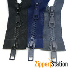 2 way Chunky Open Ended Zip Zippers Plastic Teeth - Black, Navy, Grey (CH2WAY)