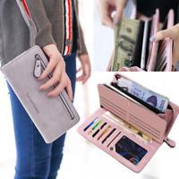 Women Clutch Leather Wallet Long Card Holder Phone Bag Case Purse Card Holder