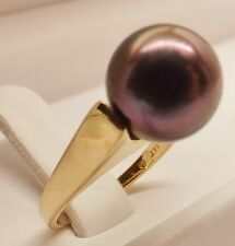 STUNNING LARGE 10mm FRENCH POLYNESIA TAHITIAN BLACK PEARL 14kt YELLOW GOLD RING