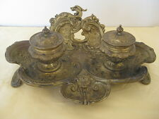 Antique art nouveau brass bronze double inkwell