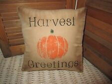 Primitive Stenciled Pillow -Harvest Greetings