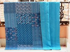 Kantha Quilt Indian Antique Handmad Blanket Patchwork Cotton Bedspread King Size